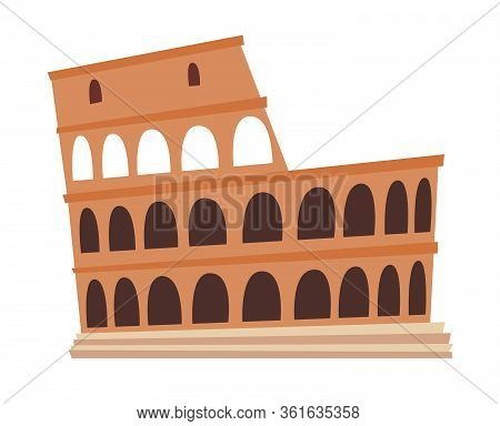 Coliseum, Italy Architecture Landmark Vector Illustration. Rome, Old Building. Ancient Architectural