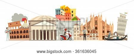 Italy Skyline Colorful Background. Famous Italy Building. Italy Hand Drawn Vector Illustration. Ital