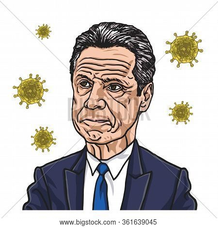 Andrew Cuomo New York Governor With Coronavirus Covid-19 Icon Background. Vector Cartoon Caricature