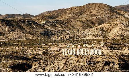 Tabernas Desert, Almeria, Spain - January 9, 2020: Western Town At Texas Hollywood, Movie Location S