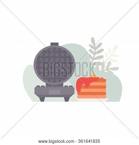 Flat Illustration Of An Open Waffle Iron With Waffles With Gravy On An Abstract Background. Tasty Br