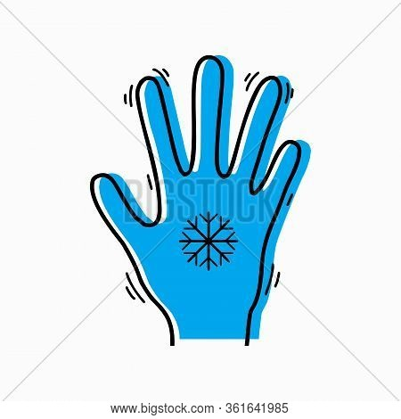 Frostbite Of Limbs. Contour Silhouette Of A Trembling Hand With A Snowflake And Blue Silhouette. Vec