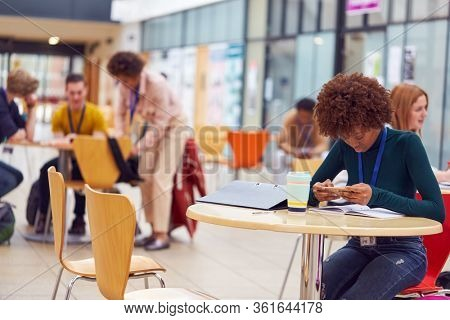 Communal Area Of Busy College Campus With  Female Student Working At Tables And Using Mobile Phone