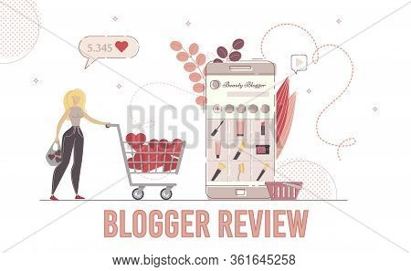 Woman Fashion And Style Blogger Beauty Products Review, Shopping Vlog Concept. Lady Carrying Shoppin