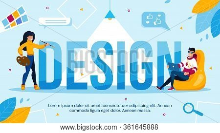 Web, Content Design And Usability Improvement. Woman Decorating Painting Capital Letter. Man Program
