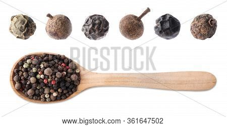 Set Of Different Peppercorns On White Background, Top View. Banner Design