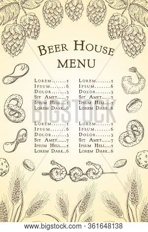 Vector Sketch Beer Bar Or Pub Menu Template. Vintage Engraved Beer House Background. Beer Label With