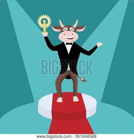 A Bull In A Tailcoat With A Statuette On A Podium - A Concept Of Success, Recognition, Victory. Cute