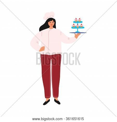 Woman Confectioner Or Baker In Apron Holding Tray With Cupcakes Vector Illustration