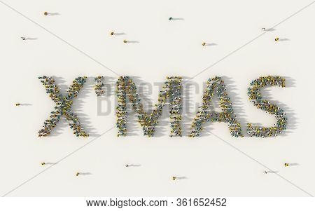 Large Group Of People Forming X Mas, Merry Christmas Lettering Text In Social Media And Community Co