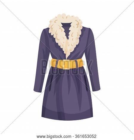 Overcoat With Woolen Collar And Yellow Belt As Womenswear Vector Illustration