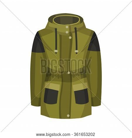 Zippered Khaki Parka Or Coat With Hood And Side Pockets As Womenswear Vector Illustration