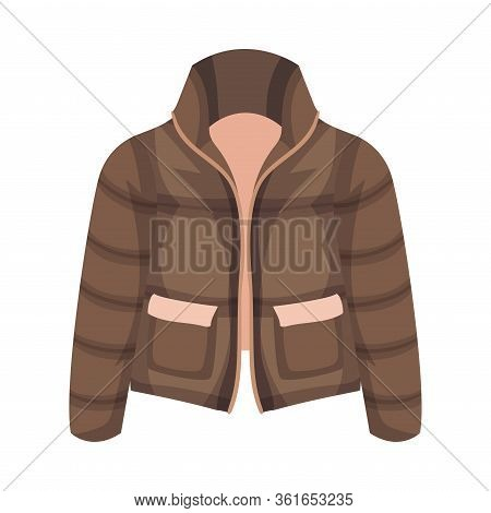 Padded Jacket With Side Pockets As Womenswear Vector Illustration