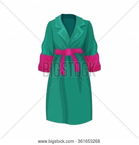 Green Overcoat With Collar And Belt As Womenswear Vector Illustration