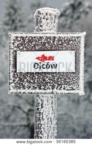 Winter Sign In Ojcowski National Park