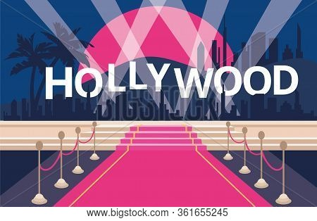 Hollywood Red Carpet Background. Colorful Vector Illustrastion
