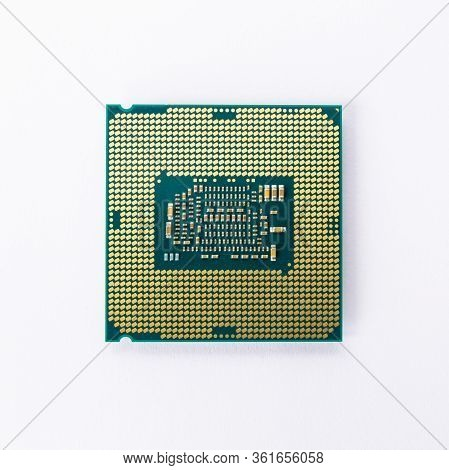 Modern Cpu Processor Chip Isolated On White Background. Select Focus