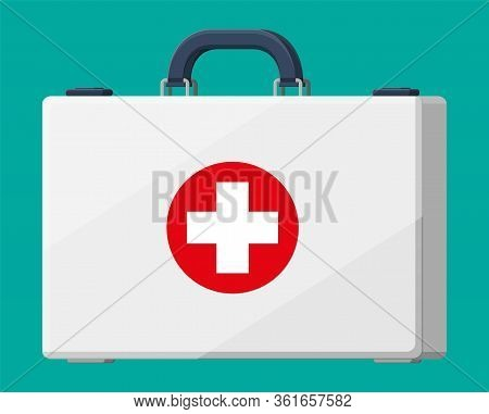First Aid Kit. Plastic Bag For Medicine. Healthcare, Hospital And Medical Diagnostics. Urgency And E