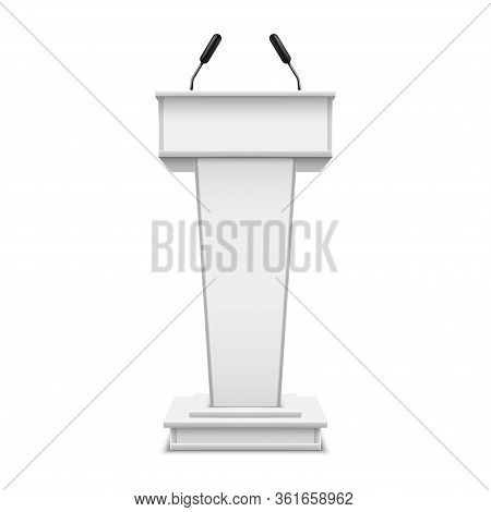 White Realistic Podium With Microphone Or Pulpit With Mic, Debate Tribune Or Speech Rostrum. Platfor