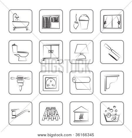 Construction and building equipment Icons - vector icon set 2 poster