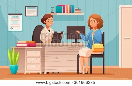 Certified Nutritionist Counseling Appointment Cartoon Composition With Dietitian Advises Client On H