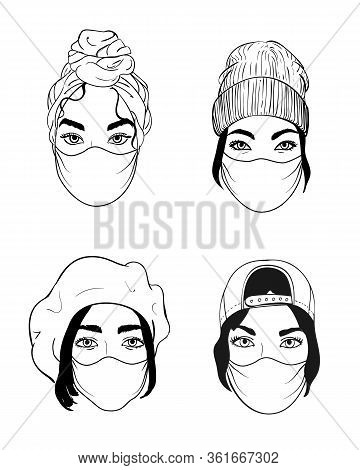 Four Women Faces In Disposable Medical Surgical Face Mask To Protect Against High Air Toxic Pollutio