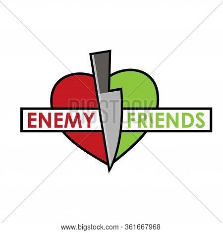 Separating Friends And Enemies Vector Concept. Flat Design. Vector Illustration On White Background