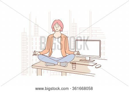 Break, Rest, Yoga, Meditation, Relax, Business Concept. Young Businesswoman Leader Clerk Manager Sit