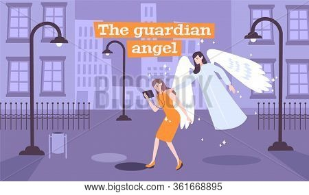 Young Lady Walking Deserted Street Gets Message Guardian Angel Sending Her Through Touch Flat Compos