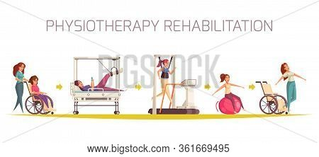 Physiotherapy Rehabilitation Composition With Set Of Human Characters Doing Physical Exercises With