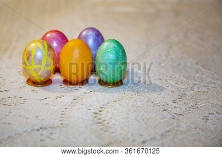 Colorful Beautiful Eggs For Orthodox Easter
