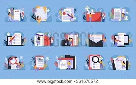 Employment Service And Employment Documents Flat Recolor Set Of Isolated Paper Icons And Doodle Huma