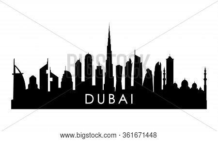 Dubai Uae Skyline Silhouette. Black Dubai  City Design Isolated On White Background.