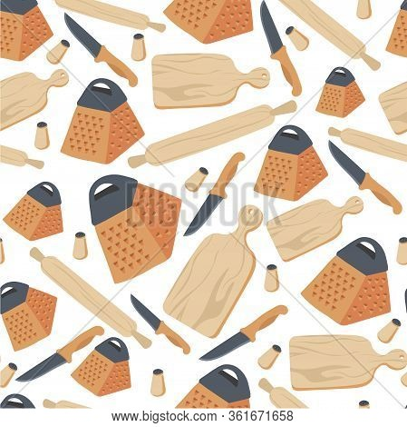 Cooking Utensils And Cookery, Knife And Rolling Pin Seamless Pattern