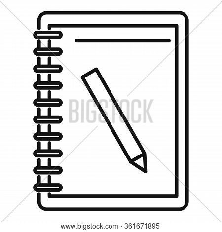 Lesson Pencil Notebook Icon. Outline Lesson Pencil Notebook Vector Icon For Web Design Isolated On W