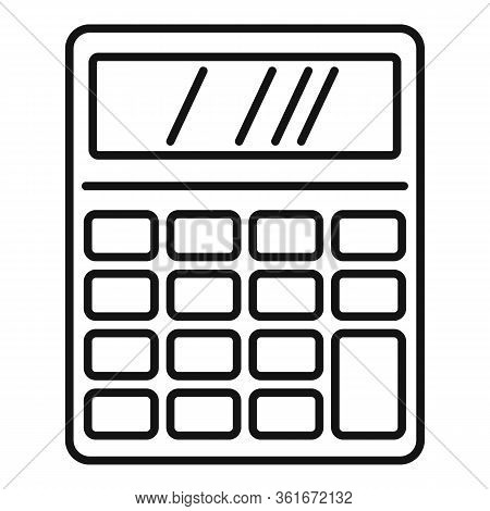 Lesson Calculator Icon. Outline Lesson Calculator Vector Icon For Web Design Isolated On White Backg