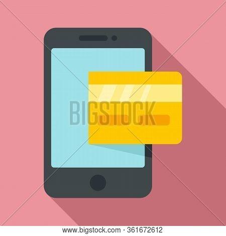 Smartphone Credit Card Icon. Flat Illustration Of Smartphone Credit Card Vector Icon For Web Design