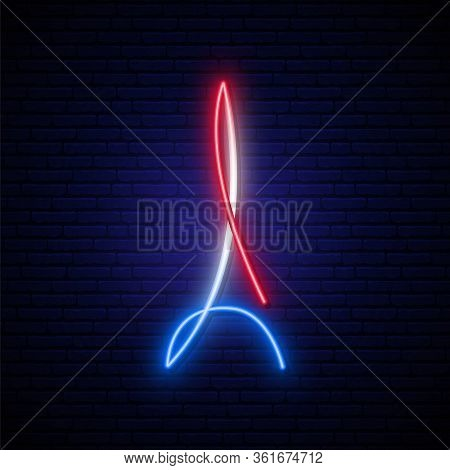 Eiffel Tower Neon Sign. Glowing Neon Eiffel Tower On Dark Brick Wall Background. Vector Illustration
