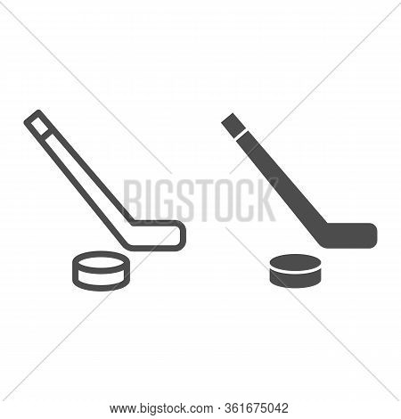 Hockey Line And Solid Icon. Hockey Stick And Washer Symbol Illustration Isolated On White. Sport Ice