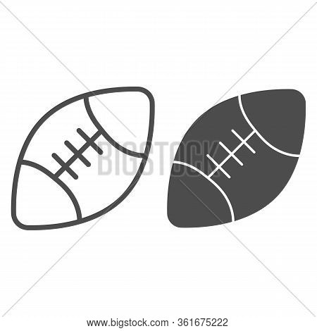 Rugby Ball Line And Solid Icon. Sport Equipment For Rugby Illustration Isolated On White. American F