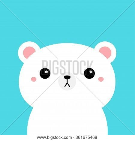 White Polar Bear Cub. Kawaii Cartoon Character. Cute Funny Head Face. Pink Cheeks. Happy Valentines