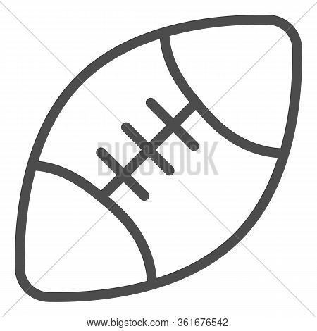 Rugby Ball Line Icon. Sport Equipment For Rugby Illustration Isolated On White. American Football Ba