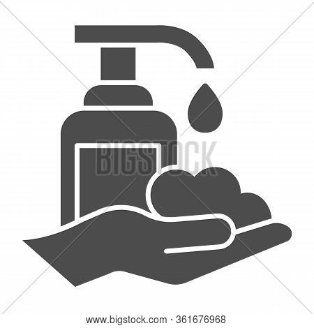 Liquid Soap And Washed Hands Solid Icon. Hand Washing Hygiene Protection Glyph Style Pictogram On Wh