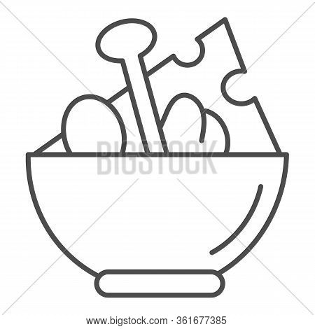 Salad Thin Line Icon. Salad Plate Illustration Isolated On White. Bowl Full With Meal Outline Style