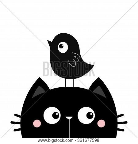 Black Kitten Cat Face Head Silhouette And Funny Bird. Cute Cartoon Character. Kawaii Baby Pet Animal