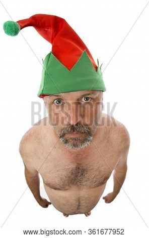 An Elf Wearing Only A Hat, A Bit Of Christmas Humor.
