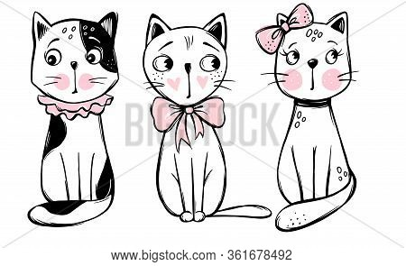 Vector Series With Cute Fashion Cats. Stylish Kitten Set.