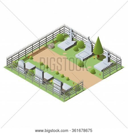 Isometric Cemetery Concept With Granite Graves, Crosses And Tombstones. 3d Vector Illustration Of Gr