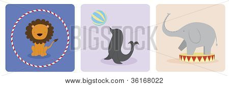 A vector illustration of three animals, each doing their own circus acts.This is an Ai 10 file that does not contain any transparencies or blends. poster