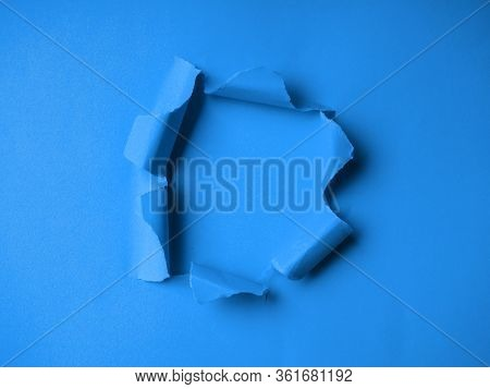 Classic Blue Tinted, Classic Colors In 2020, Hole In The Paper With Torn Side. Torn Paper On Classic